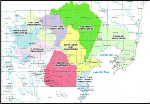 Sub Watersheds SouthEast Michigan Map