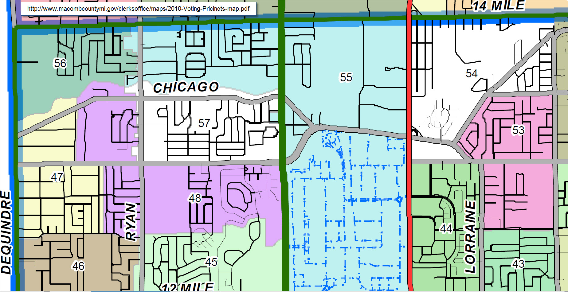 city of warren precincts and districts maps red run. Black Bedroom Furniture Sets. Home Design Ideas