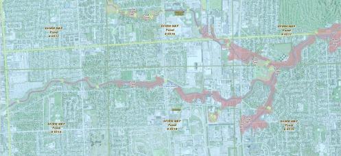 Warren Flood Zones along Red Run