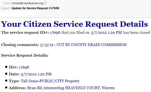 Warren Michigan Service Request