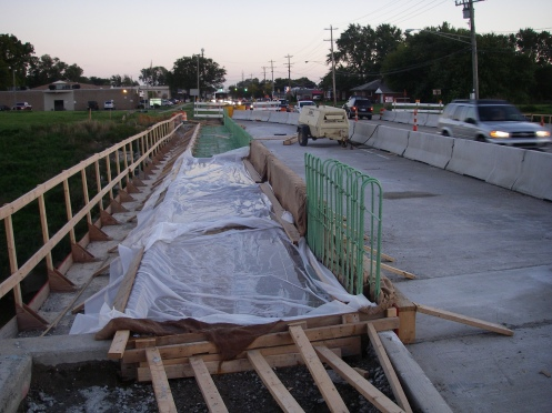 Beginning of new pedestrian walkway