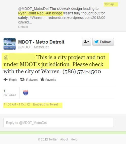 MDOT twitter response