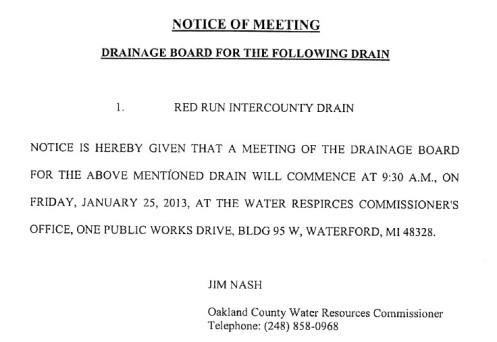 Red Run Drain Meetings