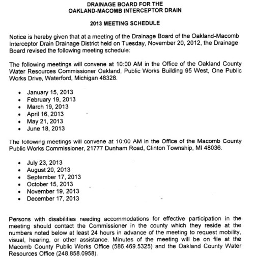 2013 Interceptor Drain Meeting Schedule