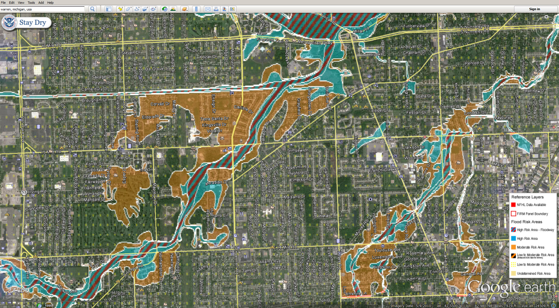 flood zone google earth layers red run. Black Bedroom Furniture Sets. Home Design Ideas