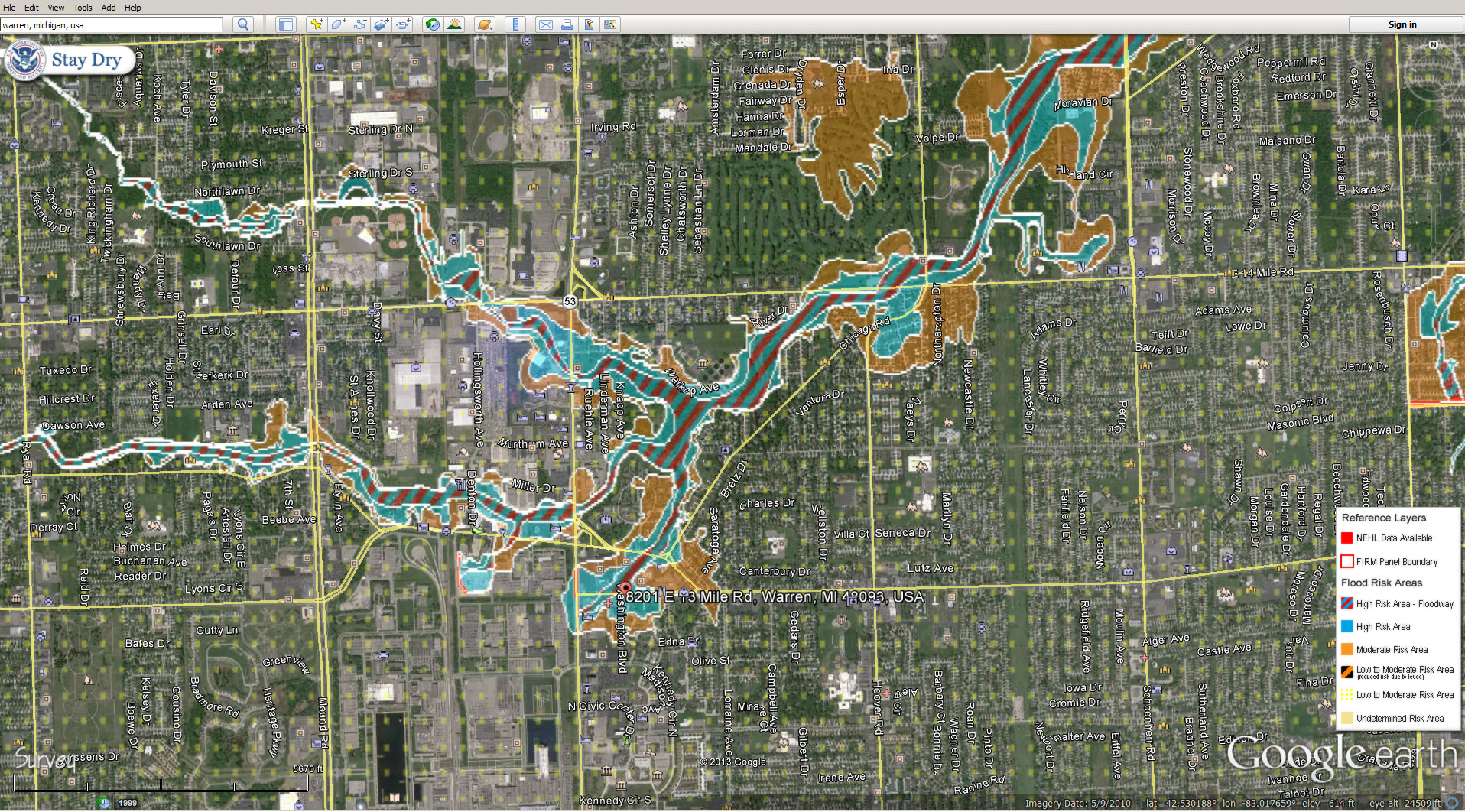 Flood Zone Google Earth Layers   Red Run on search flood map, live flood map, google listing, world flood map, nasa flood map, al gore flood map, google property search, geographic information system flood map, google scholar,
