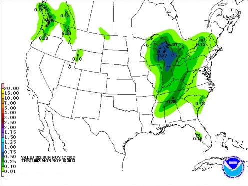 Sunday into Monday rainfall amounts