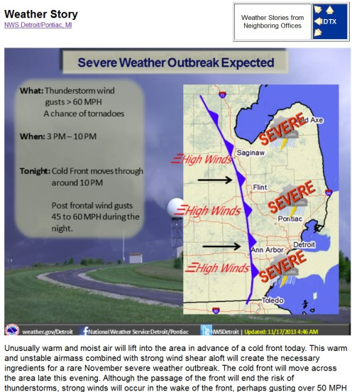 Update Sunday severe weather