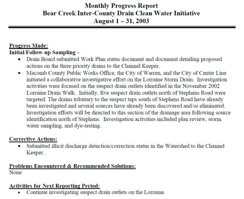 Bear Creek Channel Keeper 2003