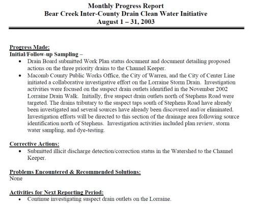 Bear Creek Channel Keeper 2003