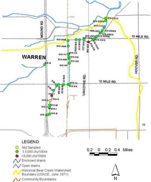 Bear Creek Open Drain Warren Michigan
