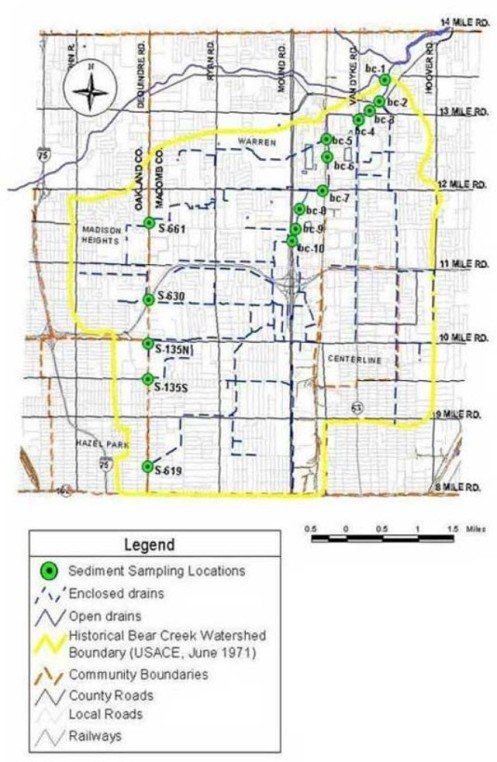 Bear Creek Sediment Map Warren Michigan
