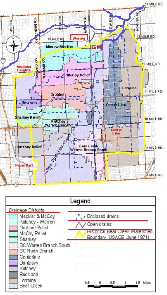 warren s watershed district map red run. Black Bedroom Furniture Sets. Home Design Ideas