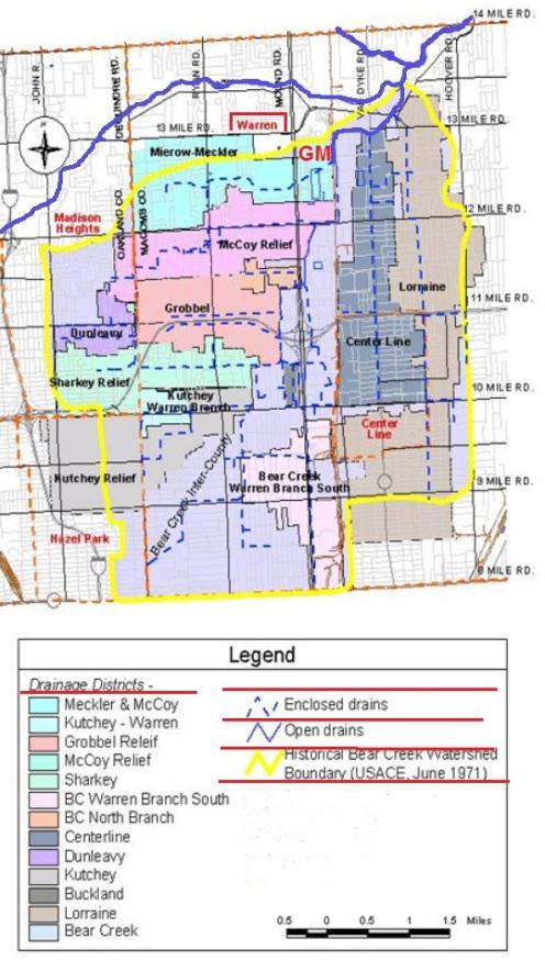 Warren michigan water sewer drain systems map