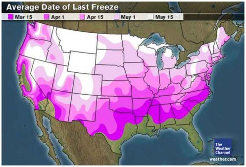 Last Freeze Dates USA