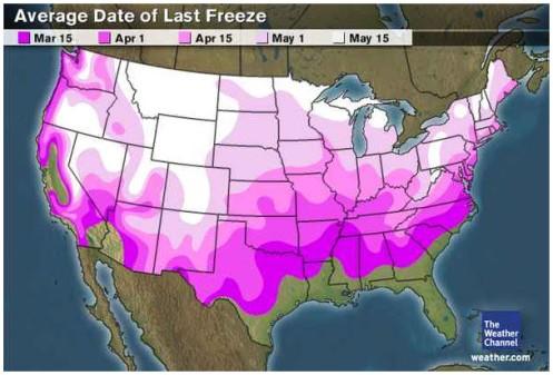 Last Freeze Dates USA