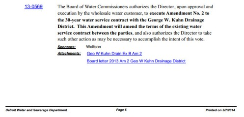 Red Run Water Service Contract