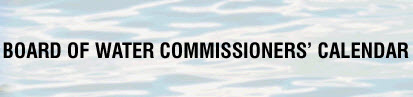Board Of Water Commisioners' Calendar