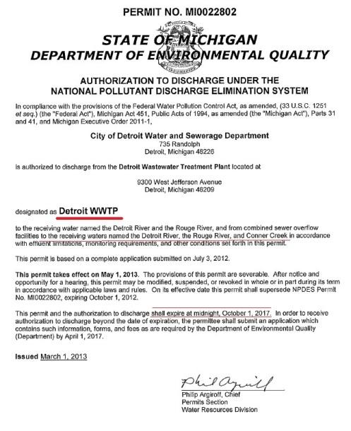 DWSD DEQ Permit MI0022802