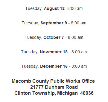 Macomb Drain Meeting Dates
