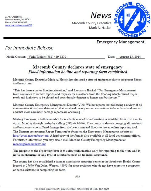 Macomb State of Emergency Declaration