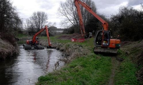 Dredging a river