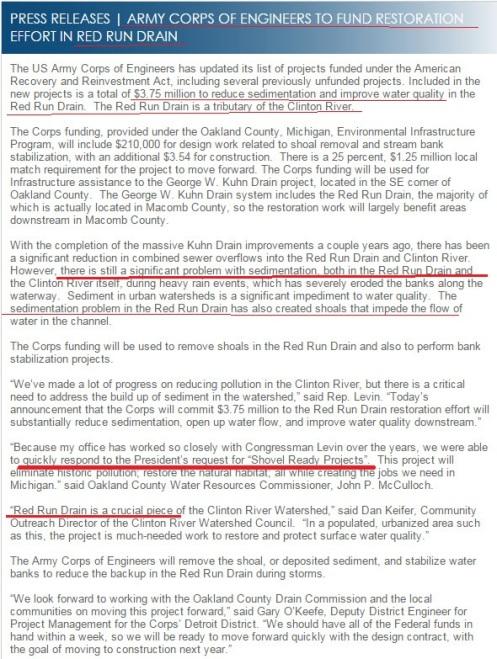 Press Release - Red Run Drain IMPROVEMENTS