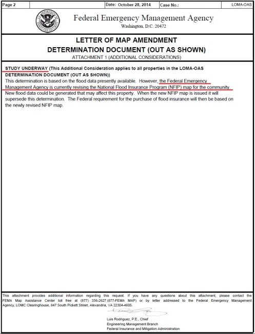 FEMA Map Amendment Letter 2014