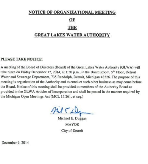 GLWA meeting notice